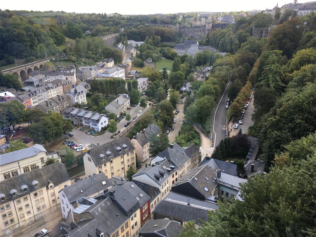 Uitzicht op Luxemburg vanuit de panoramalift